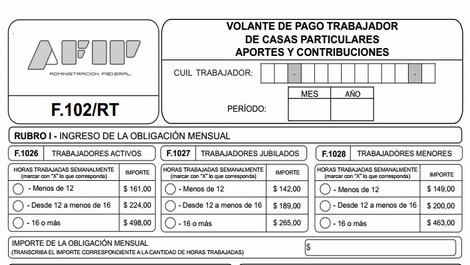 Afip Formularios Servicio Domestico 102 Rt De Junio 2016